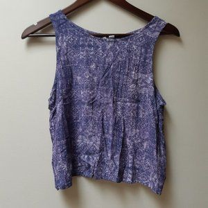 Purple printed crop top with open back
